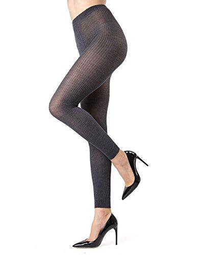 Memoi Merino Wool/Tencel Blend Ribbed Footless Tights | Pantyhose Dark Grey Heather ML 536 Medium/Large