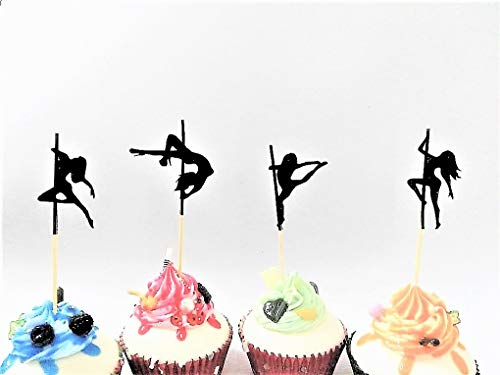 Various Designs of Sexy Pole Dancers/High Heels/Corset/Champagne Glasses/Bride & Groom Cupcake Toppers for Birthday/Bridal Sower/Weddingd/New Years Events/Party sets of 12… (Dancer Silhouette) ()