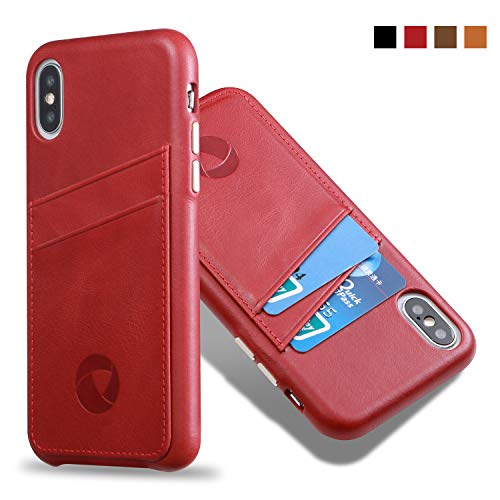 (Luckycoin Slim Leather Phone Case for iPhone Xs X with Metal Button Hand Crafted Vintage Full Grain Leahter Card Holder Back Case Grip Cover for Apple iPhone Xs X 5.8 Inches Red)