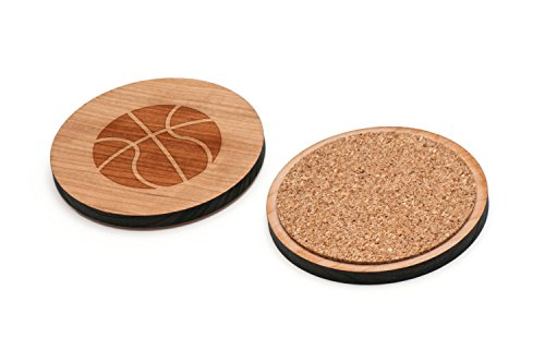 WOODEN ACCESSORIES CO Wooden Coaster Set With Laser Engraved Basketball Design - Set of 4 Laser Cut Coasters - Cherry Wood Round Wooden Coasters - Made In The USA