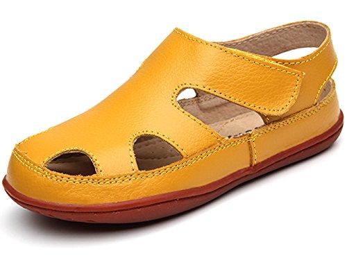 DADAWEN Girl's Boy's Summer Leather Strap Fisherman Sandal(Toddler/Little Kid/Big Kid) Yellow US Size 13 M Little - Boys Yellow Sandals