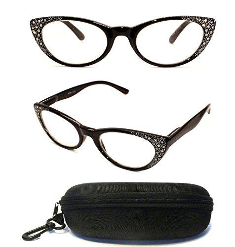 Women Unique Rhinestone Cateyes Retro 70's 80's Fashion Reading Glasses Readers + Hard Case ( Strength : +1.00 - Precription Glasses