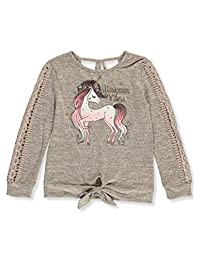 Beautees Girls' Unicorn Vibes Knit L/S Top