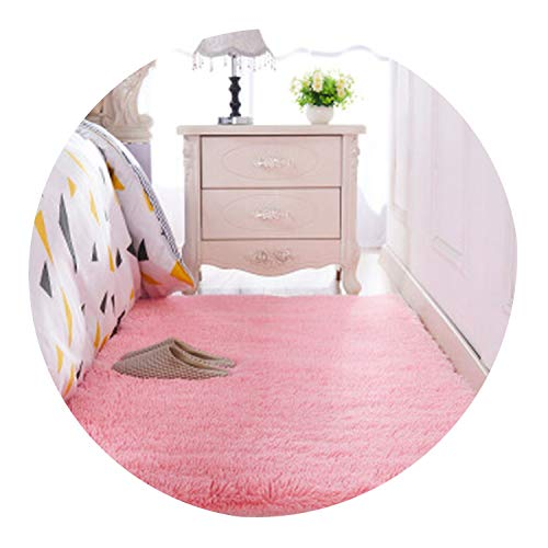 Thickened Washed Silk Hair Non-Slip Carpet Living Room Coffee Table Blanket Bedroom Bedside Mat Yoga Rugs Solid Color Plush,4,50 X120Cm