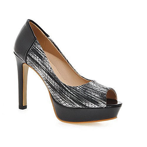 AgooLar Women's Peep Toe Spikes Stilettos Pull On Solid Sandals Black