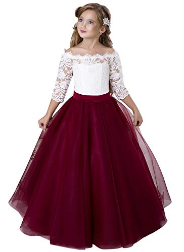 Flower Girl Dress Kids Lace Pageant Party Christmas Ball Gown Dresses Burgundy Size 12