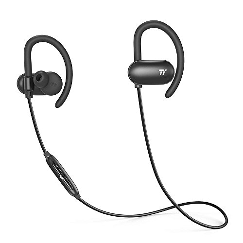 TaoTroncis Bluetooth Headphones, Wireless Earphones Running (12 Hour Music Playtimes, Soft Silicon Earhooks, Inner Nano-Coating Sweat-Proof)