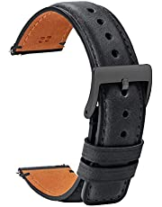 TStrap Leather Watch Band 20mm 18mm 22mm - Soft Black Quick Release Watch Strap Replacement - Square Tail Smart Watch Bands for Men Women - Men's Watch Bracelet Clasp Buckle - 18mm 20mm 22mm