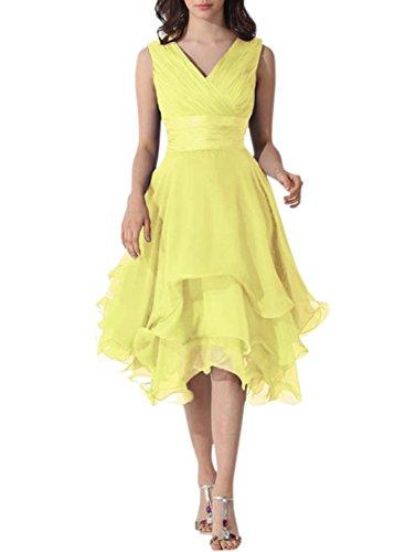 Azbro Mujer Simple V cuello sin mangas asimétrico vestido Amarillo