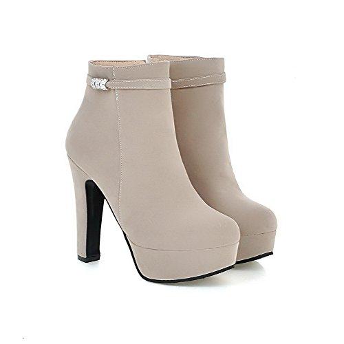 AllhqFashion Damen Rein Reißverschluss Nubukleder Niedrig-Spitze Hoher Absatz Stiefel, Cremefarben, 34