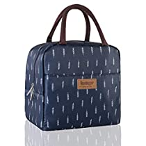 Buringer Insulated Lunch Bag Cooler Tote with Front Pocket Zipper Closure for Woman Man School Work Pinic or Travel