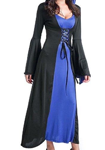 Les Hallowmas À Capuchon De Couleur De Collision Confortables Bretelles Des Femmes Cosplay Robe De Soirée Violette