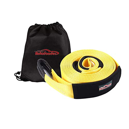 Autofonder Tow Strap 30ft Tow Strap 30.000 LBS (15 US TON) Rated Capacity Heavy Duty Vehicle Tow Strap with Reinforced Loops Protective Water Resistant Sleeves Emergency Towing Rope for Recover