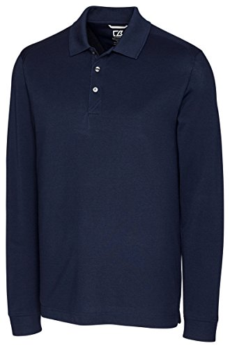 Cutter & Buck Men's 35+UPF, Long Sleeve Advantage Polo Shirt, Liberty Navy, Large (Polo Long Sleeve Ultimate)