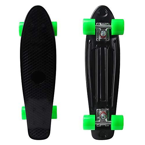 YF YOUFU 22/23 Inch Beginner Skateboard for Girls/Boys, Plastic Deck Cruiser Complete Mini Skateboards for Beginners/Youth/Adults