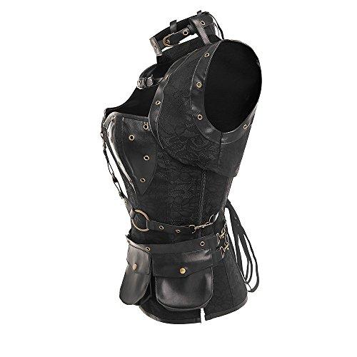 ZAMME Bustiers y corsés de Steampunk de las mujeres con la correa de la bolsa Negro