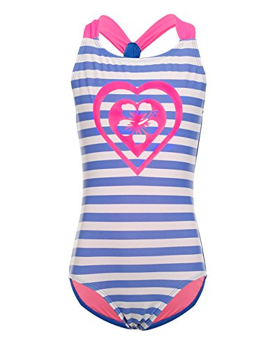 LEINASEN One Piece Stripe Bathing Suits for Girls, Kids Racer Back Swimsuit, Size ()
