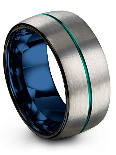 Chroma Color Collection Tungsten Wedding Band Ring 10mm for Men Women Blue Interior Teal Center Line Dome Black Grey Brushed Polished Size 4