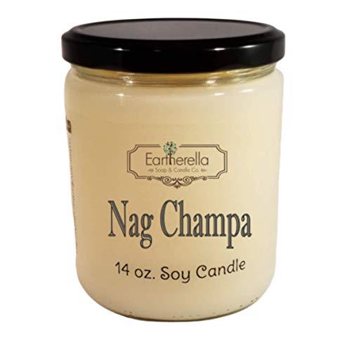 - NAG CHAMPA Natural Soy Wax 14 oz. Jar Candle, 90+ hour burn time