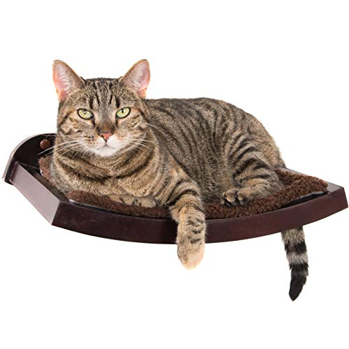 (Art of Paws Cat Shelf | Cat Perch Cat Bed with Curved Cat Hammock Design | Elegant Wood Wall-Mounted Cat Furniture | A Gift Your cat Will Love )