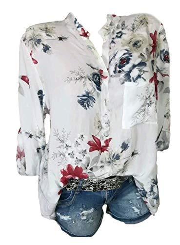 Bianca Baggy Bluse Forti Autunno Casual Damigella Neck Lunghe V Modello Eleganti Tops Maniche Donna Shirts A Tunica Primaverile Blusa Taglie Fiore Camicia Camicetta ffTpnB