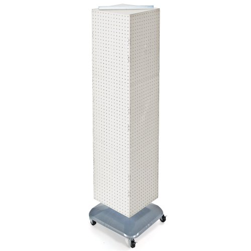 Azar Displays 701465-WHT Standard Four-Sided Interlocking Pegboard Floor Display, White Solid by Azar Displays