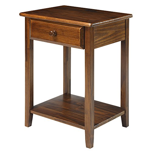 Casual Home 647-24 Night Owl Nightstand with USB Ports-Warm (Media Storage End Table)