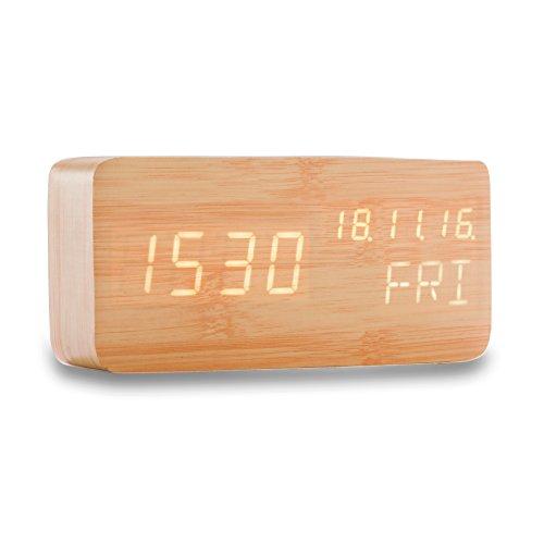 Generic B1 Reloj despertador digital con nivel de activación, indicador de temperatura, Snooze,