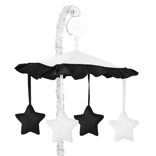 Sweet Jojo Designs White and Black Modern Hotel Musical Baby Crib -
