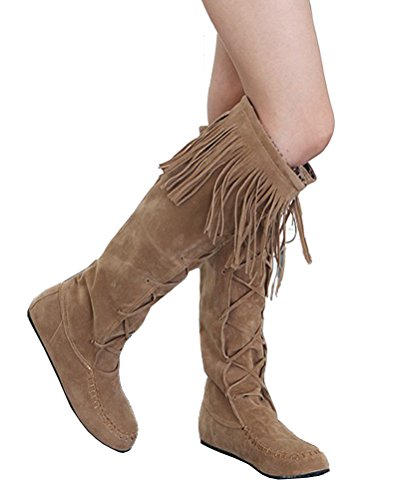 Flats On Size 5 Tassels Boots Boots 2 Moccasins Calf HiTime Sweet Womens Casual Yellow Pull Boots School High 8 6Yxq0wg