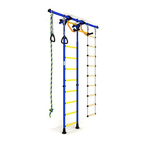 Indoor Kids Playground Play Set / Blue Training Gym Sport Set with Accessories Equipment: Climber, Rope ladder, Rope and Gymnastic Rings / Suit for Apartment, School and Playroom / Carousel R55