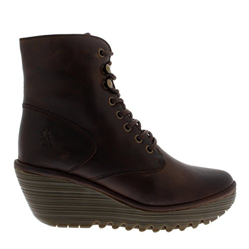 Dark Warm Ygot London Leather Boots Brown Wedge Womens Fly Ankle up Lace Platform wAZxq6PE