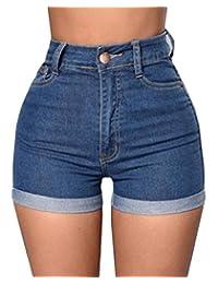 Cromoncent Las Mujeres de Cintura Alta de Verano Faded Roll up Sexy Hot Shorts de Mezclilla