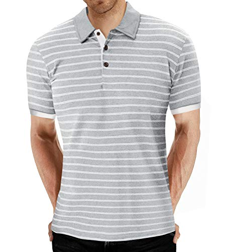 MLANM Men's Polo Shirt Short/Long Sleeve Casual Slim-fit Basic Designed Stripe Cotton Shirts