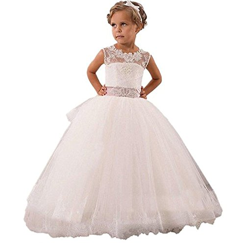 Mingxuerong Girls Princess Bridesmaid Flower Dresses Floor Length Girls First Communion Dress customize Ivory