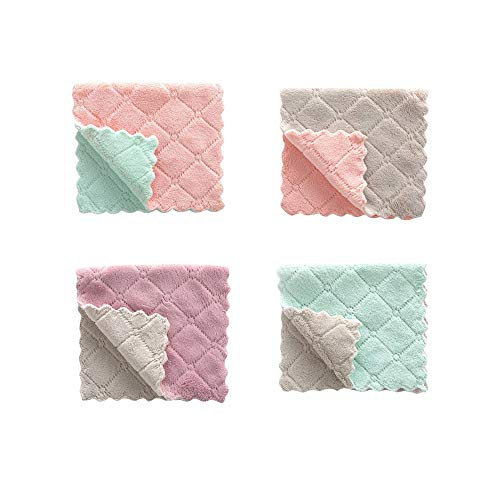 FarJing 4Pcs Dishclout Hanging Hand Towels,Dish Cloth for Washing Dishes Dish Rags Coral Velvet Nonstick Oil Washcloths