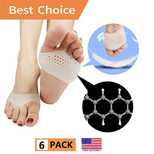 Metatarsal Pads, Ball of Foot Cushion (6 PCS) *New Material* Forefoot Pads, Breathable & Soft Gel, Best for Diabetic Feet, Callus, Blisters, Forefoot Pain. (White) (Best Insoles For Corns)