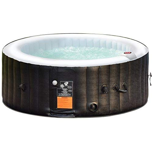 Person Inflatable Pool - Goplus 4-6 Person Outdoor Spa Inflatable Hot Tub for Portable Jets Bubble Massage Relaxing w/Accessories Set (6-Person, Black)