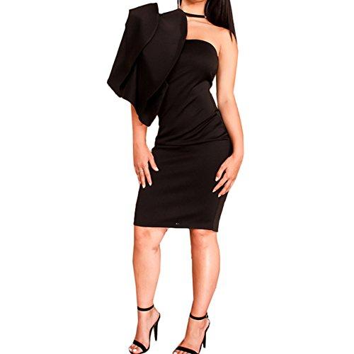 Bodycon Increspato Club Vestito One Dell'increspatura Delle Nero Manicotto Bodycon4u Partito Spalla Donne 7TxqS4ww