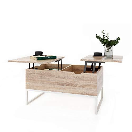 Table Basse Relevable avec 2 Compartiments Table D\'appoint Relevable avec  Espace de Rangement et étagère Table Basse Design Fonctionnel Réglable en  ...