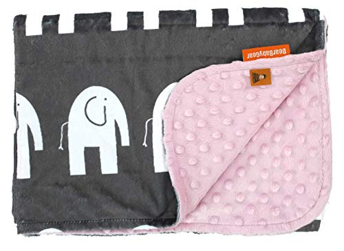 (Dear Baby Gear Deluxe Baby Blankets, Custom Minky Print Double Layer White Elephants, Pink Minky Dot, 38 Inches by 29 Inches)