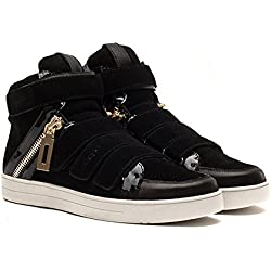 OPP Men's Fashion Designer Shoes Leather High-top Sneakers with Decoeative Zipper and Velcro Design
