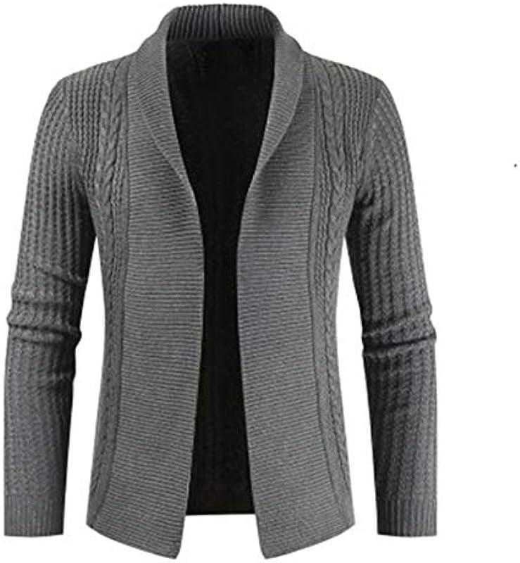 wkd-thvb Autumn Męskie Slim Fit Cardigan Sweater Männlich Langarm Einfarbig Gestrickt Cardigan Casual Sweatercoat: Odzież