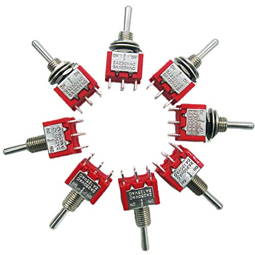 mxuteuk 8pcs MTS-203 6 Terminal 3 Position DPDT Mini Miniature Toggle Switch Car Dash Dashboard ON/Off/ON 5A 125V 2A 250V (Dpdt Miniature)