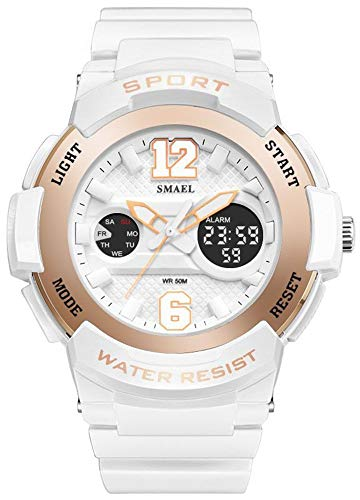 Fanmis Womens Sporty Design Multifunctional Analog Digital Dual Time Stopwatch Alarm Waterproof Wrist Watch White