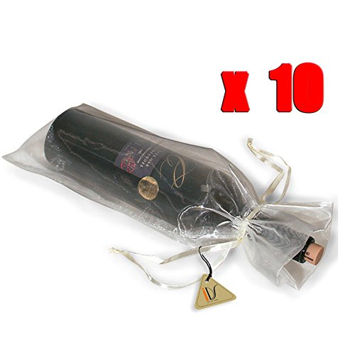 (10 x Sheer Organza Wine Bottle Gift Bags Weddings Holidays Parties White)