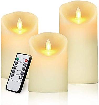 Velas de LED Efecto Llama, Pack de 3 Pilares de Cera Real, 10/12.5/15cm de Alto, con Control Remoto y Temporizador, Marfil, Decoración Boda Iglesia Jardín(3 * Pilas AAA): Amazon.es: Iluminación