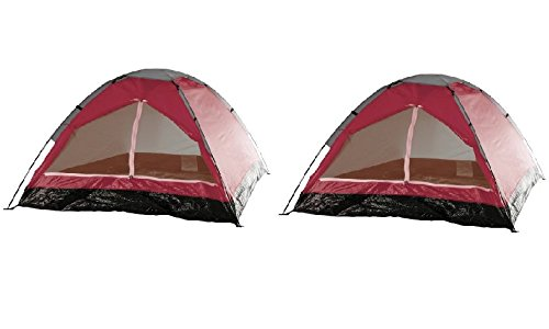 2-Person Tent, Dome Tents for Camping with Carry Bag by Wakeman Outdoors (Camping Gear for Hiking, Backpacking, and Traveling) - RED (Set of 2) by Happy Camper