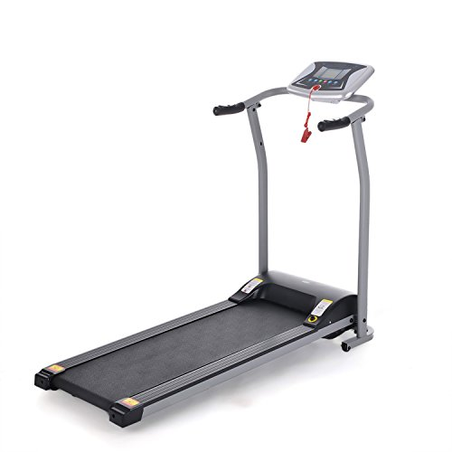 Hosmat Mini Folding Electric Treadmill Exercise Equipment Walking Running Machine with 'Pacer Control' & Heart Rate System (Silver)