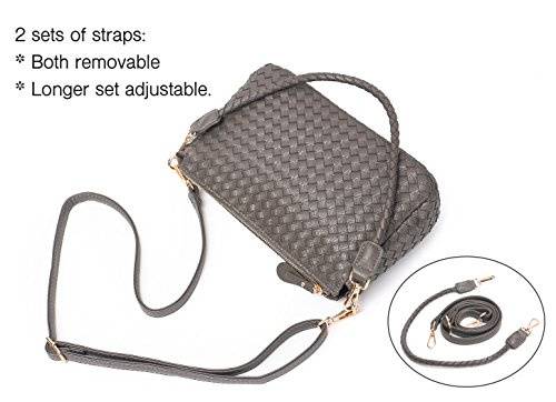For Side 2 Sets Straps Purses Purse Bags Crossbody of Clutch PU Women Leather Grey Small Bags Jeelow Shoulder qO6XXP